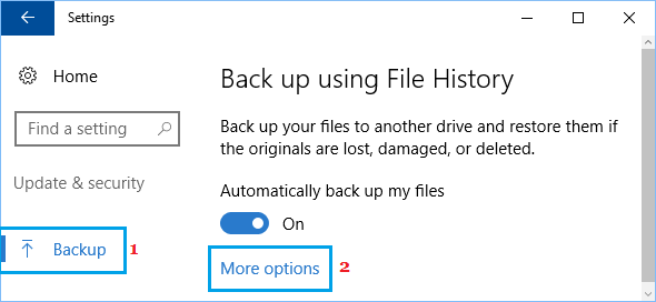 More Options Link in Windows 10 Backup and File History Section