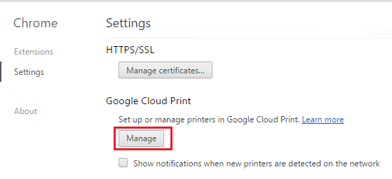 Manage Printers Option in Google Chrome Browser