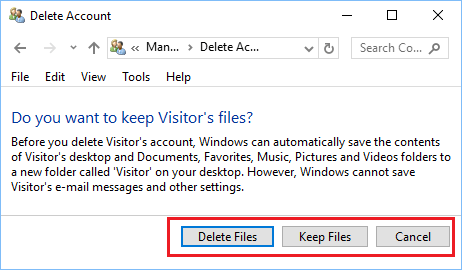 Delete or Keep Deleted User Account Files option in Windows 10