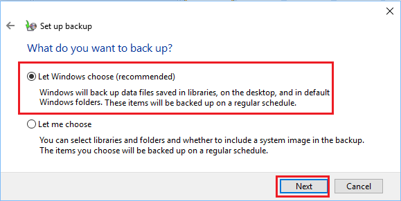 Let Windows Choose the Files to Backup option in Windows 10