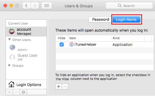 Login Items Tab on Mac