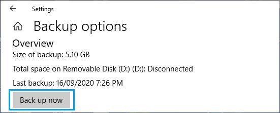 Start File History Backup