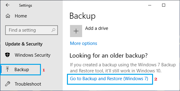 Open Windows Backup and Restore Tool