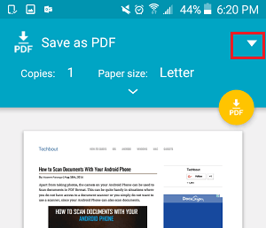 Down Arrow Button to Access Printer on Android Phone