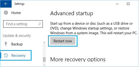 Recovery Option on Windows 10 Settings Screen