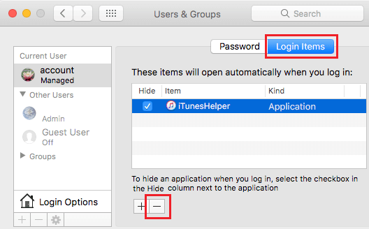 Remove Login Item on Mac