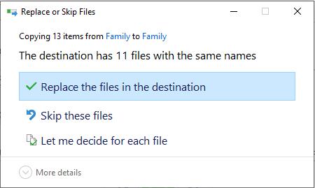 Windows File History Restore Options