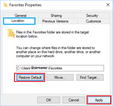 Restore Default Location For the Favourites Folder in Windows 10