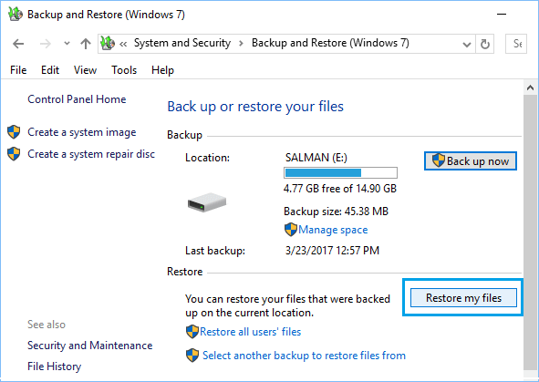 Restore My Files Option in Backup and Restore Tool in Windows 10