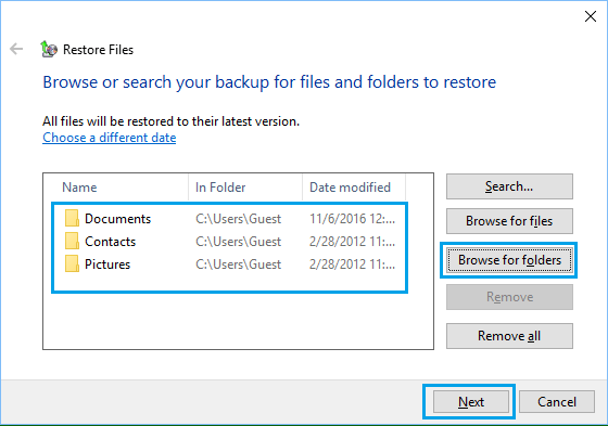 Browse Files and Folders to Restore From Backup in Windows 10