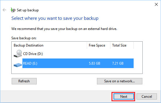 Select a Backup Drive to Save System Image Of Windows 10 Computer