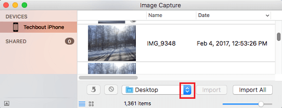 Select Destination For iPhone Photos to be Downloaded to Mac