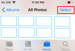 Select Photos Option on iPhone