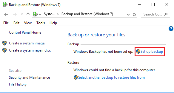 Setup Backup Option in Windows 10 Control Panel