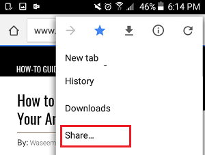 Share Option in Chrome Browser On Android Phone
