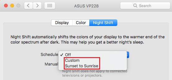 Sunset to Sunrise or Custom Option in Night Shift Mode on Mac