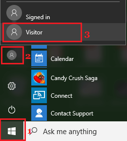 Switch to Guest User Account in Windows 10