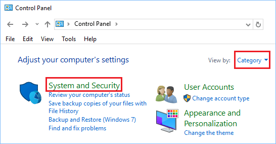 System and Security Option in Windows 10 Control Panel Screen.