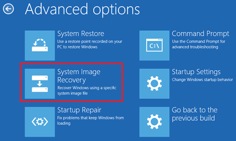 System Image Recovery Option In Windows 10 Advanced Options