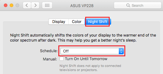 Turn On Night Shift in System Preferences on Mac