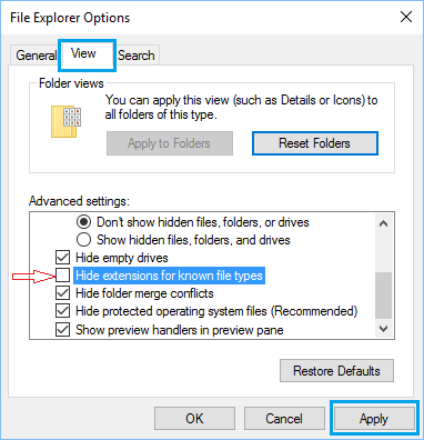 Unhide File Extensions in Windows 10 Using File Explorer Options