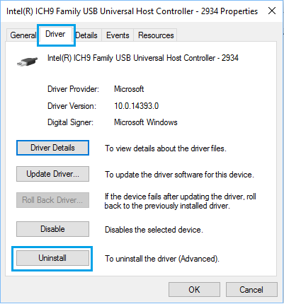 Uninstall Driver Option in Windows 10