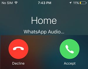Accept or Decline WhatsApp Call on iPhone