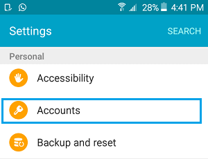 Accounts Option in Settings Screen on Android Phone