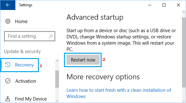 Advanced Startup Option in Windows 10 Settings Screen