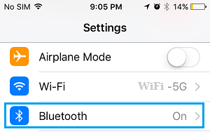 Bluetooth Tab on iPhone Settings Screen