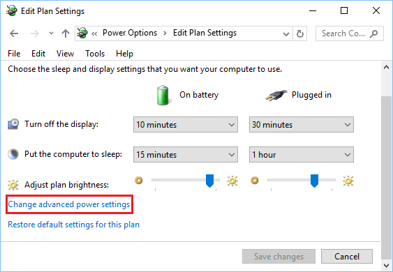 Change Advanced Power Settings in Windows 10