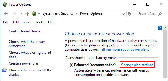 Change Power Plan Settings Option in Windows 10