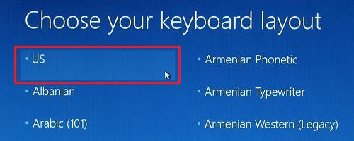 Choose Keyboard Layout in Windows 10
