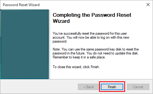 Password Reset Process Completed in Windows 10