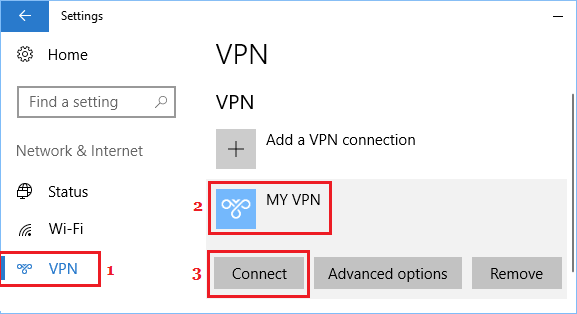 Connect to VPN From the Settings Screen in Windows 10