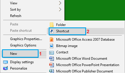 Create Shortcut Option in Windows Contextual Menu