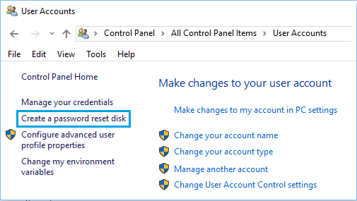 Create Password Reset Disk Option in Windows 10 Control Panel