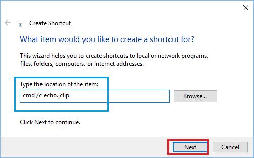 Create Shortcut Wizard Screen in Windows 10