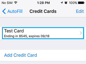 Credit Card Information Saved By Safari Browser On iPhone