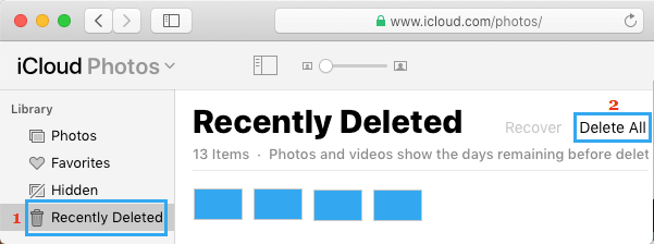 Delete All Recently Deleted Photos From iCloud