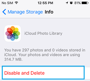Disable and Delete iCloud Photo Library Option on iPhone