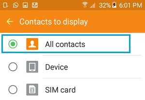 Display All Contacts Option on Android Phone