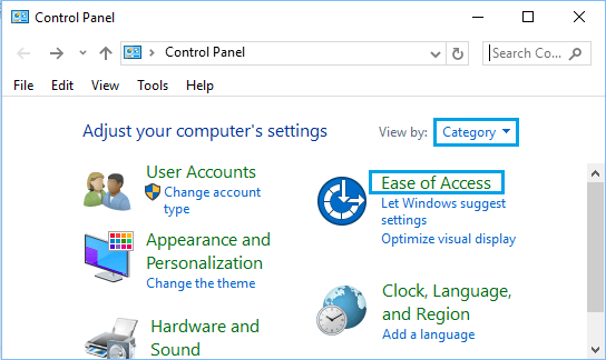 Ease of Access Option on Control Panel Screen in Windows 10