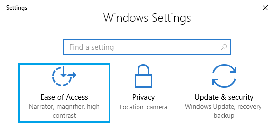 Ease of Access Option on Windows Settings Screen