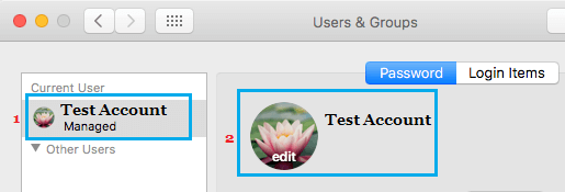User Profile Picture Edit Option on Mac