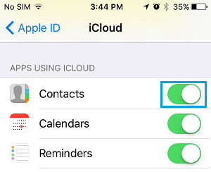 Enable iCloud Contacts on iPhone