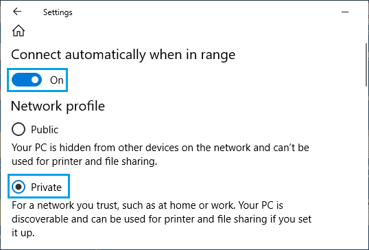 Set Network As Private And Connect Automatically