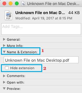 Unhide/Hide Filename Extension option in File Info Screen on Mac