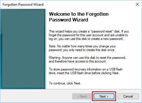 Forgotten Password Wizard Welcome Screen in Windows 10
