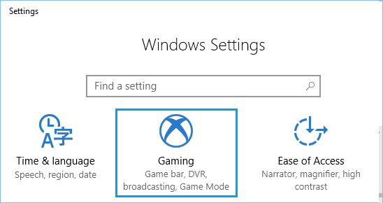 Gaming Option in Windows 10 Settings Screen